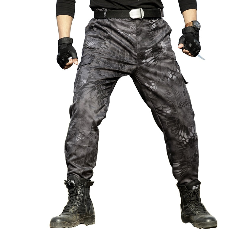Military Black Python Combat Army Cargo Pants