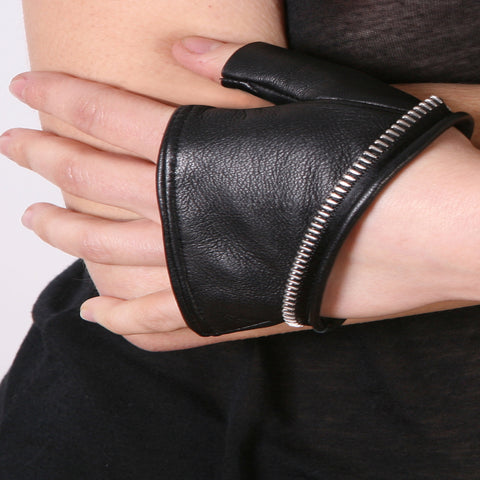Cropped Zipper Trim Gloves
