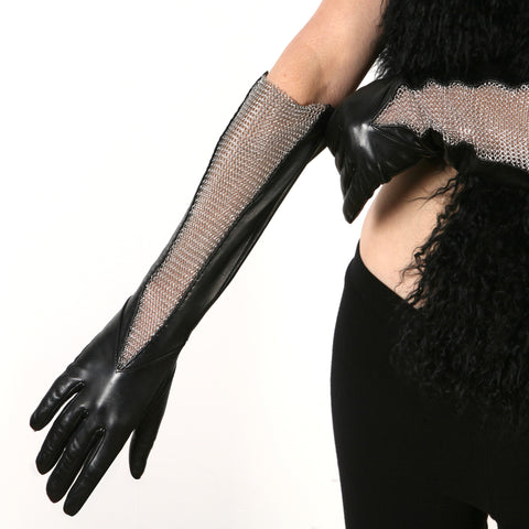 Chain Mesh Gusset Gloves
