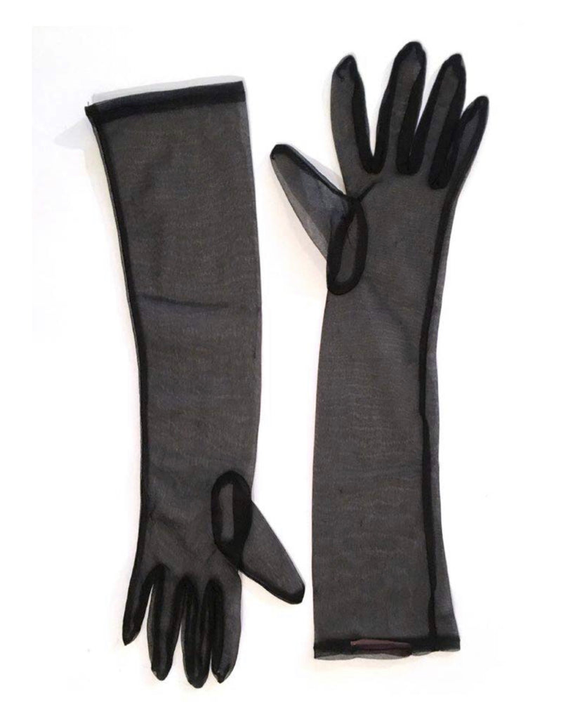 Sheer Mesh Black Gloves