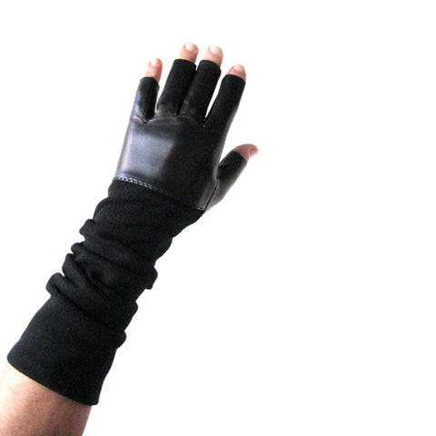 Mens Fingerless Leather & Cashmere Gloves