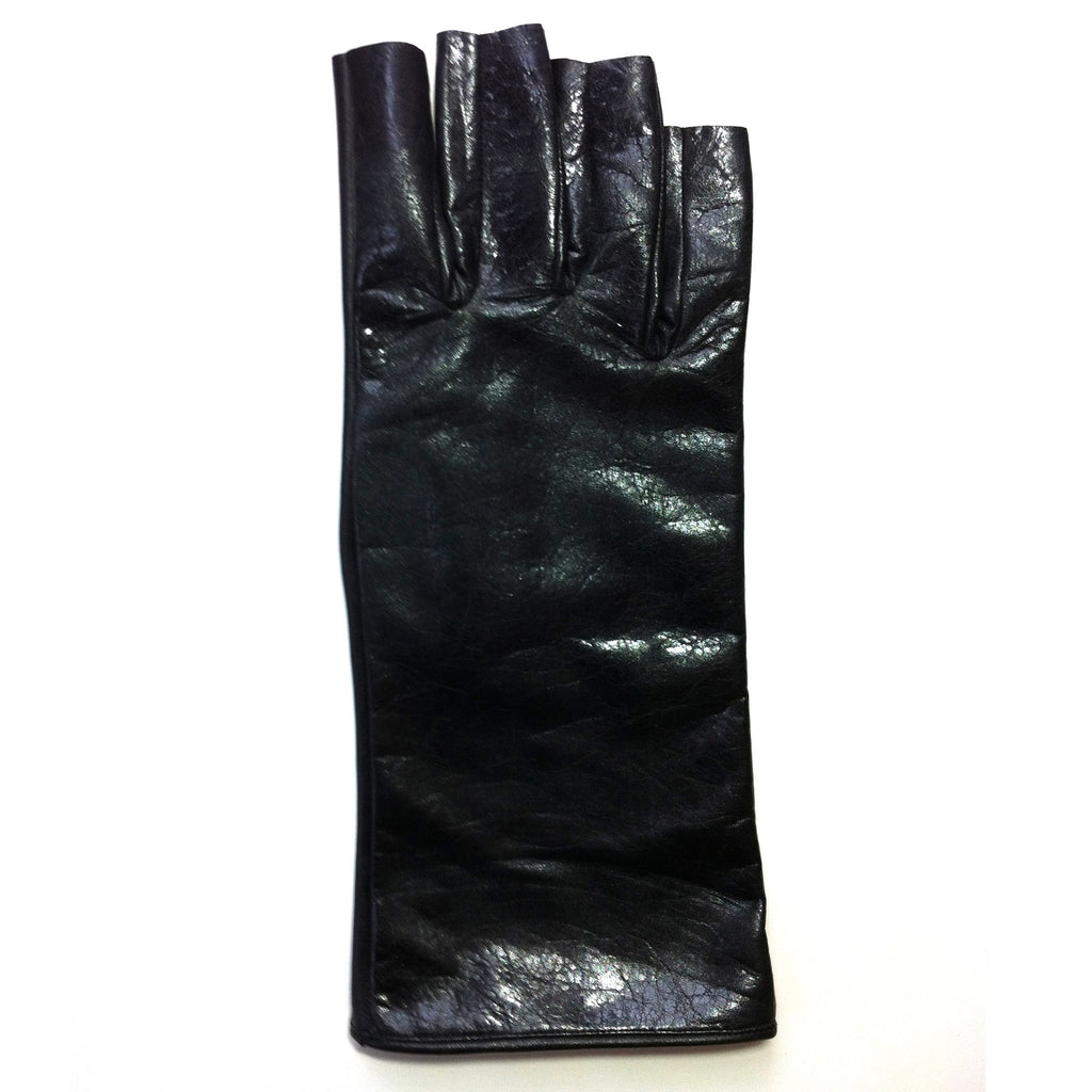 Long Fingerless Leather Gloves
