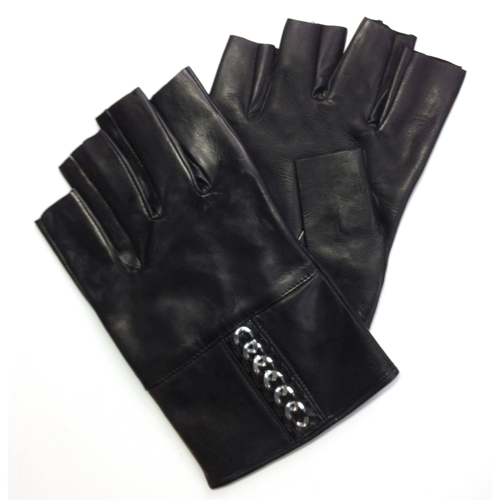 Fingerless Leather Chain Gloves