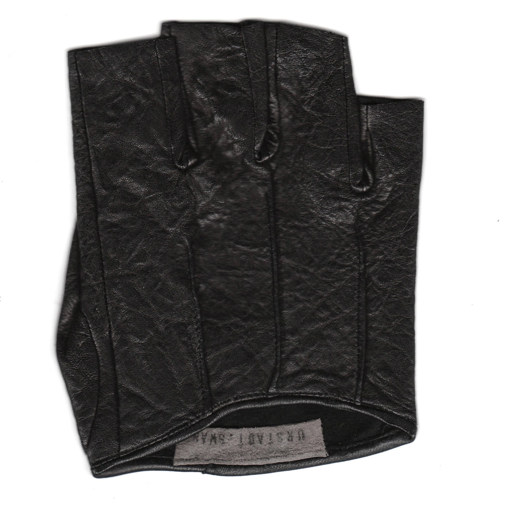 Fingerless Textured Lambskin Gloves