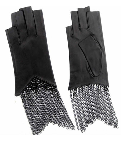 Fingerless Cropped Chain Fringe Gloves
