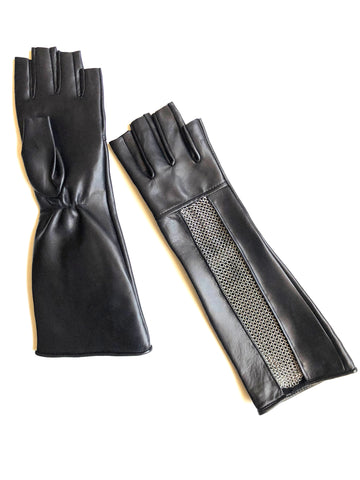 Chain Mesh Fingerless Gauntlet Gloves