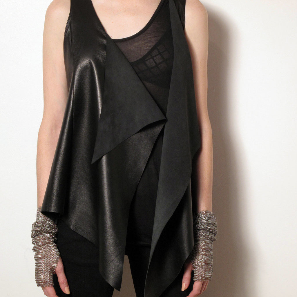 Leather Drape Vest