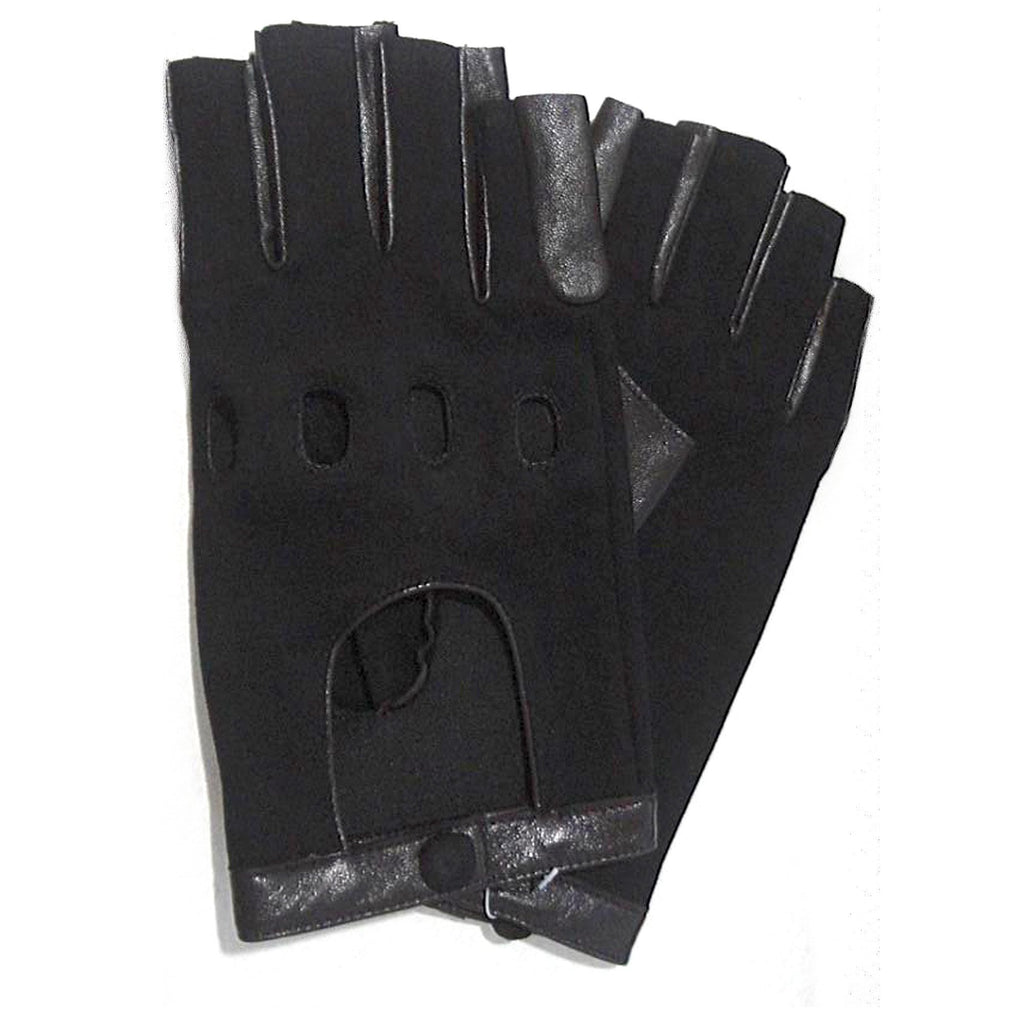Denim and Leather Fingerless Driver Glove