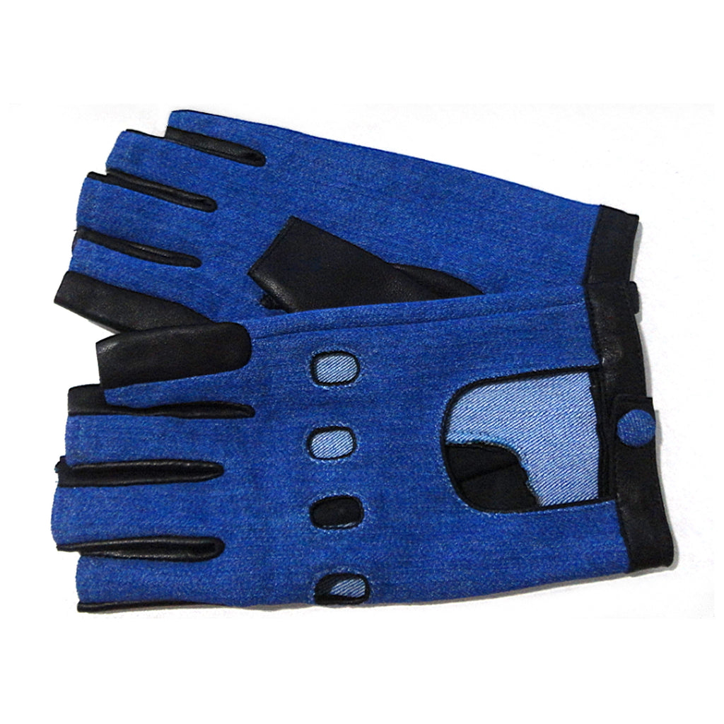 Denim and Leather Driver Fingerless Glove