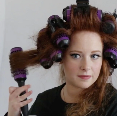 Innovative ONE-CLICK Detachable Brush and Curlers Set, Purple!