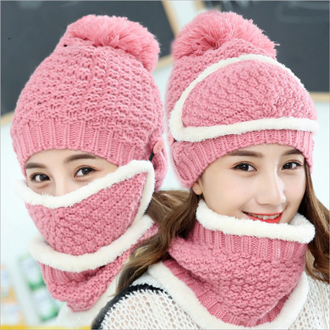 3 in1 Beanie Hat with Scarf and Mask, 8 colors available