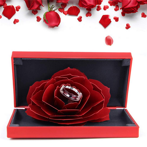 ✿Ring Box✿ 3D Pop Up Rose Ring Holder Ceremony Engagement Wedding Ring Box