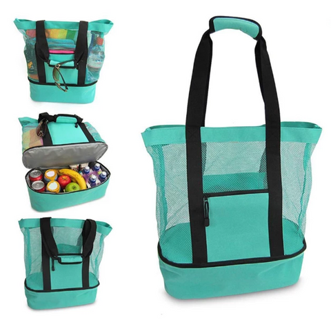 2-in-1 Multi-functional Mesh Beach Bag, 3 Colors Available!