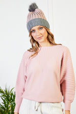 Aoife Rib Hat with Contrast Bobble - Pink