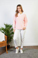 Victoria Pink Jumper with mock Shirt Collar