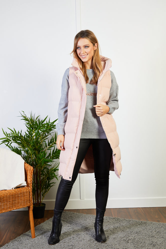 Samantha Pink Longline Gilet with hood