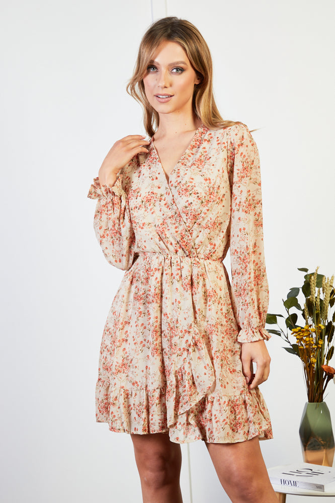 Natalia Pink and Cream Floral Print Dress