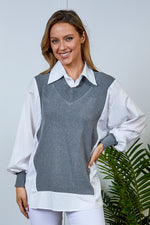 Megan All In One Knit & Shirt - Grey