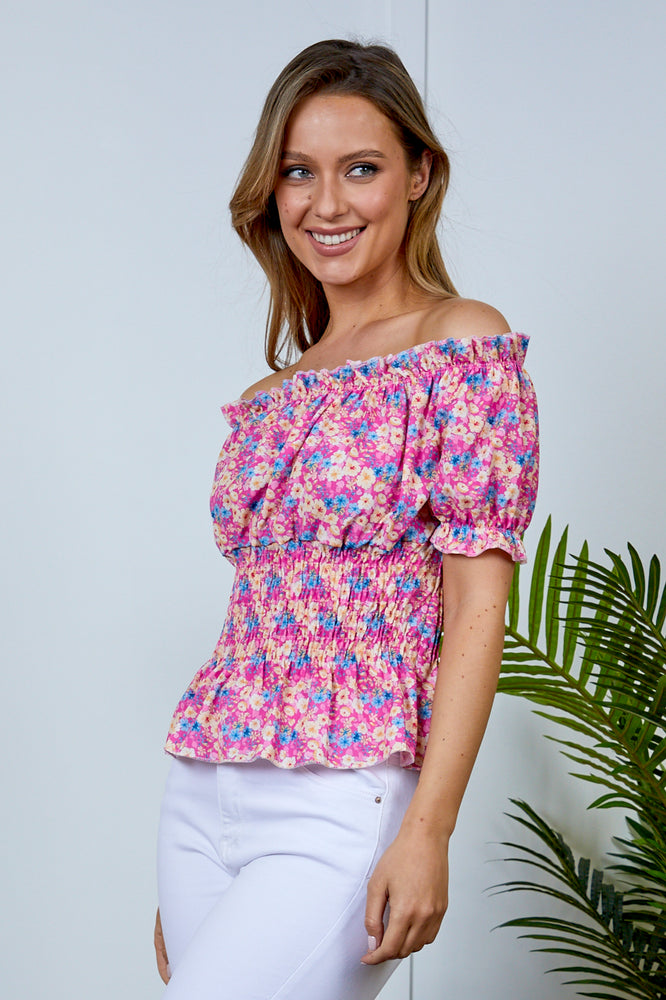 Lily Pink Floral Bardot Top