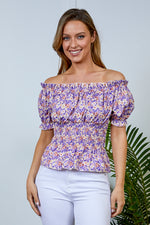 Lily Lilac Floral Bardot Top