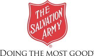"The Salvation Army logo in red with words, ""Doing the Most Good""."