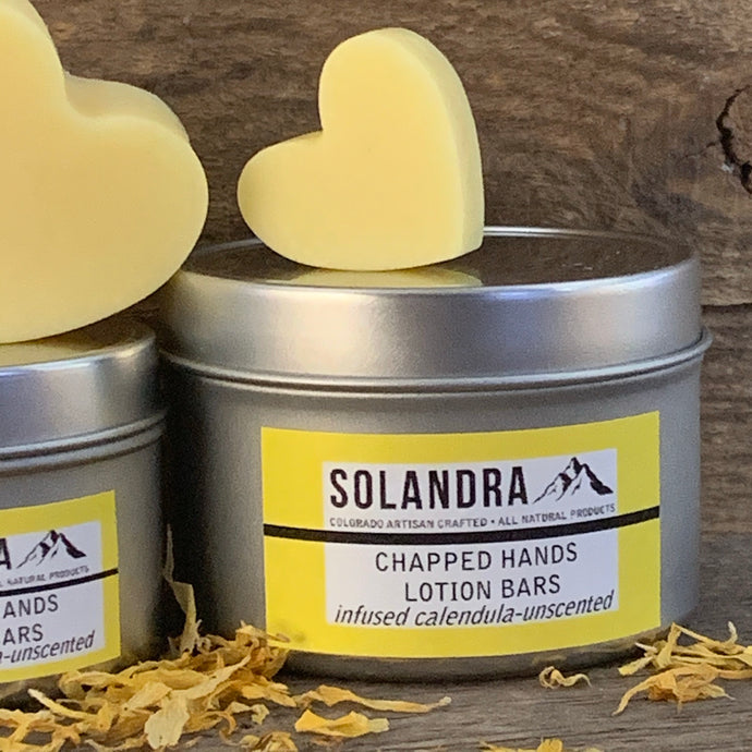 Heart shaped lotion bars on reusable tins.  Perfect for hands and feet.