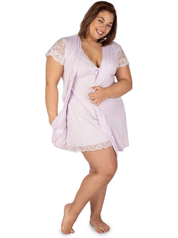 Body Touch Womens Chemise Nightgown Robe Sleepwear 2 Piece Set Ultra Soft PJs Lounge Plus Size