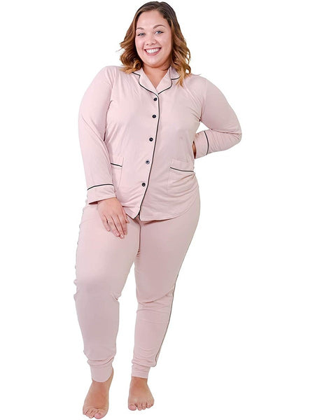 We-are-on Women Plush Pajamas Set Button Down Ultra Soft Lace 2 Piece PJs Shirt & Pants Nightgown from Small - XLarge