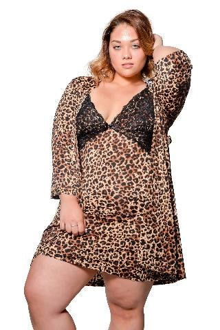 Body Touch Plus Size Robe & Chemise 2 Piece Set