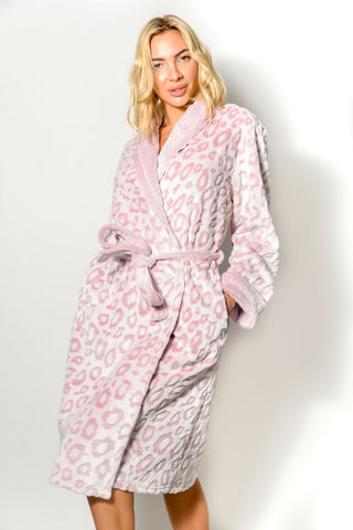 Women's Robe Warm Fleece Long Plush Deluxe Soft Textured Loungewear Sleepwear Shawl S-XL