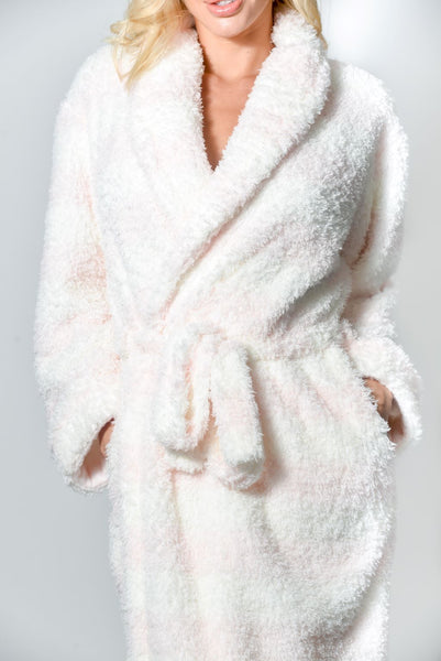Women's Robe Warm Long Plush Deluxe Soft Textured Loungewear