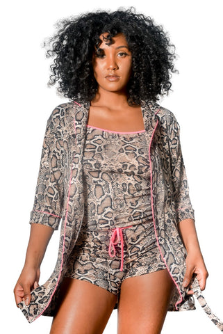 3 Piece Robe, Chemise & Shorts Set, Super Soft, Belt