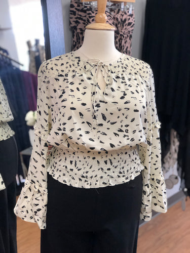 Bell Sleeve Printed Top