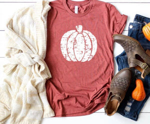 Fall Graphic Shirt- White Distressed Pumpkin
