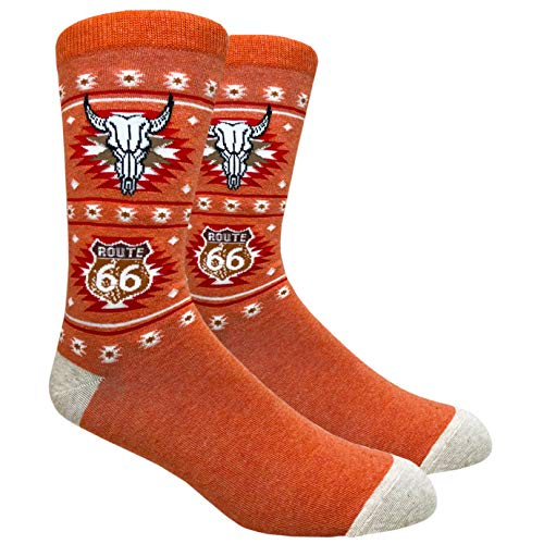 Tango11s Chckered World Men Cave Trouser Novelty Fun Crew Print Socks for Dress or Casual (Route 66 Orange #76B)