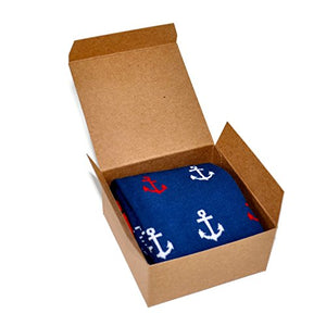 Themed Patterned Men's Novelty Crew Socks 1 Pair in Small Gift Box (Anchor - Blue)
