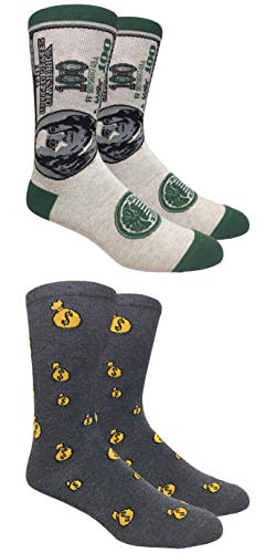 Tango11s Checkered World Men Cave Trouser Novelty Fun Crew Print Socks for Dress or Casual (Show me the money 2pack)