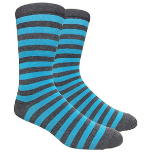 Tango11s Chckered World Men Cave Trouser Novelty Fun Crew Print Socks for Dress or Casual (Stripe Char/Blue #SDB9)