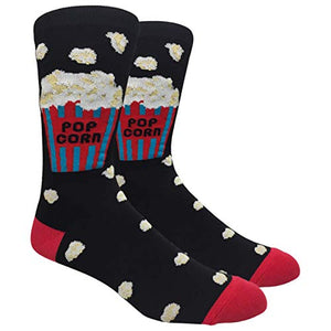 Tango11s Chckered World Men Cave Trouser Novelty Fun Crew Print Socks for Dress or Casual (Popcorn #34)