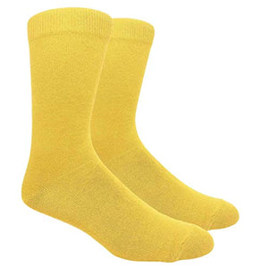 Novelty Fun Crew Print Socks for Dress or Casual (Solid Gold #130G)