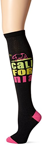 K. Bell Women's Original Series Novelty Knee High Socks, California (Black), Shoe Size: 4-10