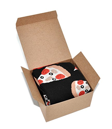 Themed Patterned Men's Novelty Crew Socks 1 Pair in Small Gift Box (Pizza Slices - Black)