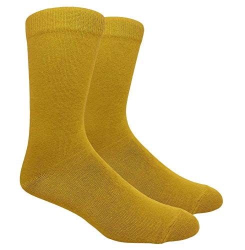 Tango11s Chckered World Men Cave Trouser Novelty Fun Crew Print Socks for Dress or Casual (Solid Mustard #130MUS)