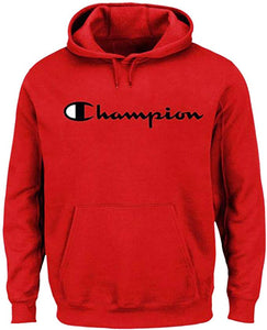 Champion Men's Big and Tall Script Logo Pullover Hoodie (2XLT, Red)