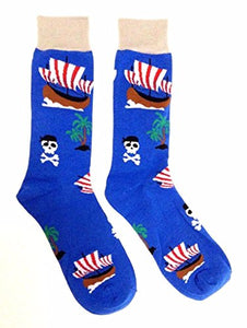 Novelty Fine Fit Crew Socks - Mix Prints (Blue Pirate Ship Deserted Island)