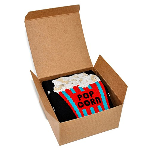 Themed Patterned Mens Novelty Crew Socks 1 Pair in Small Gift Box (Popcorn Time),Popcorn Time,10-13