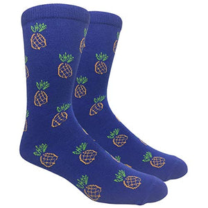 Novelty Fun Crew Print Socks for Dress or Casual (Pineapple Blue #B005)