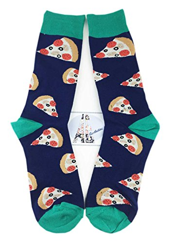 Men Pizzas Design Novelty Cotton Crew Socks (Navy)
