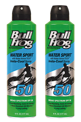 Bull Frog Water Armor Sport InstaCool Continous Spray Sunscreen, SPF 50, 6 oz - 2pc