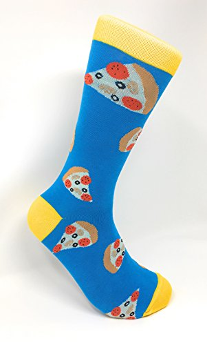 Fine Fit Men's Novelty Fun Crew Socks for Dress or Casual (Pizza Pizza - Blue & Yellow)